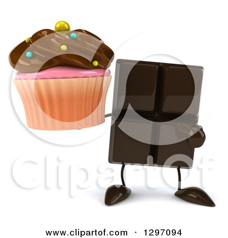 Clipart of a 3d Chocolate Candy Bar Character Holding and Pointing to a Cupcake - Royalty Free Illustration by Julos