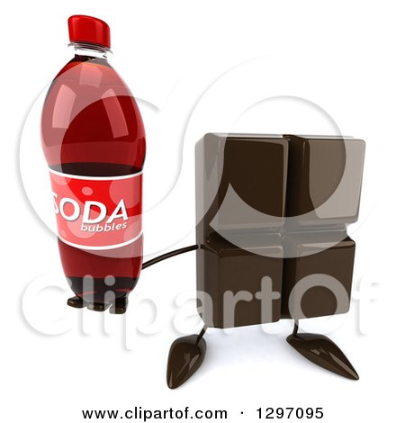 Clipart of a 3d Chocolate Candy Bar Character Holding up a Soda Bottle - Royalty Free Illustration by Julos
