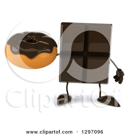 Clipart of a 3d Chocolate Candy Bar Character Holding a Donut - Royalty Free Illustration by Julos