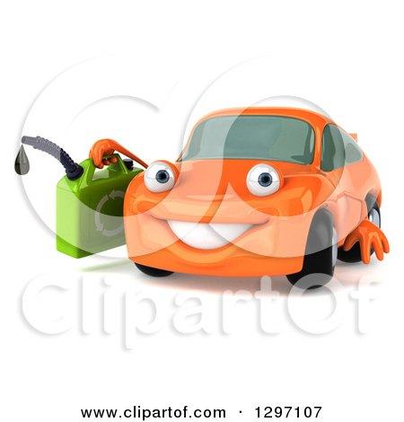 Clipart of a 3d Orange Porsche Car Character Facing Slightly Left and Holding a Gas Can - Royalty Free Illustration by Julos