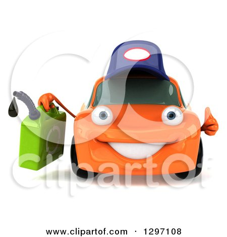 Clipart of a 3d Orange Porsche Car Mechanic Character Giving a Thumb up and Holding a Gas Can - Royalty Free Illustration by Julos