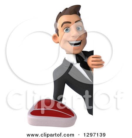 Clipart of a 3d Happy Young White Businessman Holding a Beef Steak Around a Sign - Royalty Free Illustration by Julos