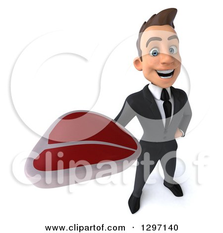 Clipart of a 3d Happy Young White Businessman Holding up a Beef Steak - Royalty Free Illustration by Julos