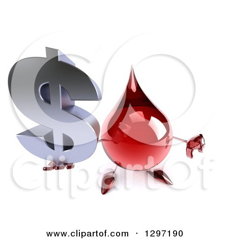 Clipart of a 3d Hot Water or Blood Drop Character Holding up a Dollar Symbol and Thumb down - Royalty Free Illustration by Julos