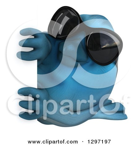 Clipart of a 3d Bluebird Wearing Sunglasses, Facing Left and Looking Around a Sign - Royalty Free Illustration by Julos