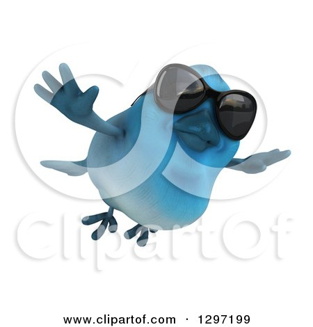 Clipart of a 3d Bluebird Wearing Sunglasses and Flying Slightly Right - Royalty Free Illustration by Julos