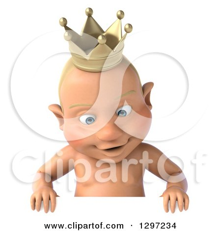 Clipart of a 3d Bald White Baby Boy Wearing a Crown, Looking down over a Sign - Royalty Free Illustration by Julos