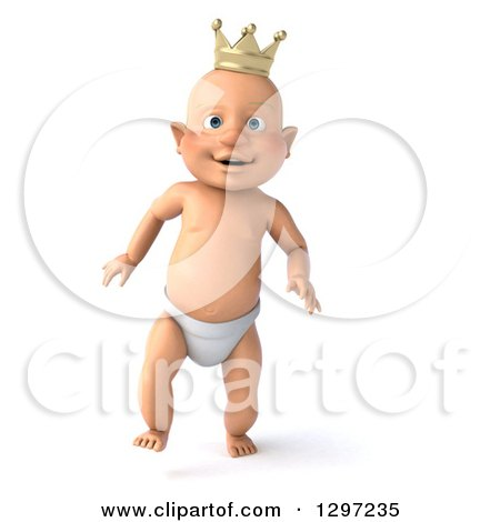Clipart of a 3d Walking Bald White Baby Boy Wearing a Crown - Royalty Free Illustration by Julos