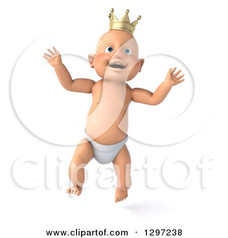 Clipart of a 3d Jumping Bald White Baby Boy Wearing a Crown - Royalty Free Illustration by Julos