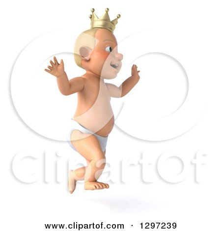 Clipart of a 3d Bald White Baby Boy Wearing a Crown, Facing Right and Jumping - Royalty Free Illustration by Julos