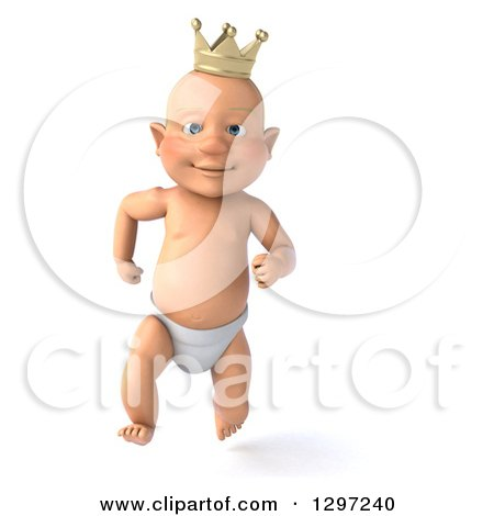 Clipart of a 3d Bald White Baby Boy Wearing a Crown and Running - Royalty Free Illustration by Julos