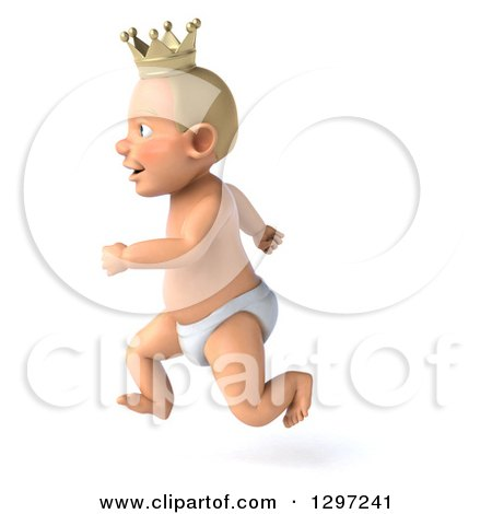 Clipart of a 3d Bald White Baby Boy Wearing a Crown, Facing Left and Running - Royalty Free Illustration by Julos