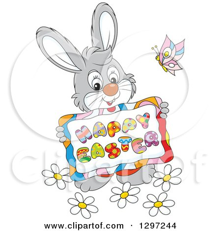 Clipart of a Cartoon Happy Gray Bunny Holding a Happy Easter Sign, with a Butterfly and Flowers - Royalty Free Vector Illustration by Alex Bannykh