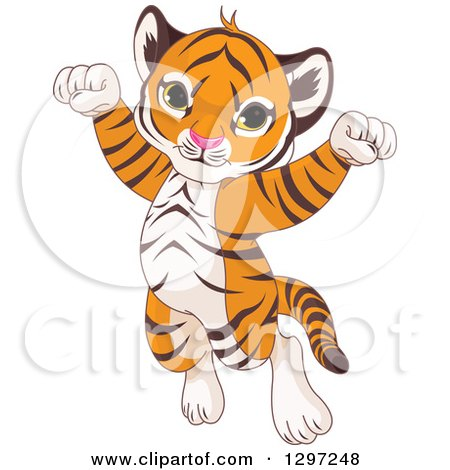 Cute Animal Clipart of an Adorable Happy Baby Tiger Cub Jumping and Cheering - Royalty Free Vector Illustration by Pushkin