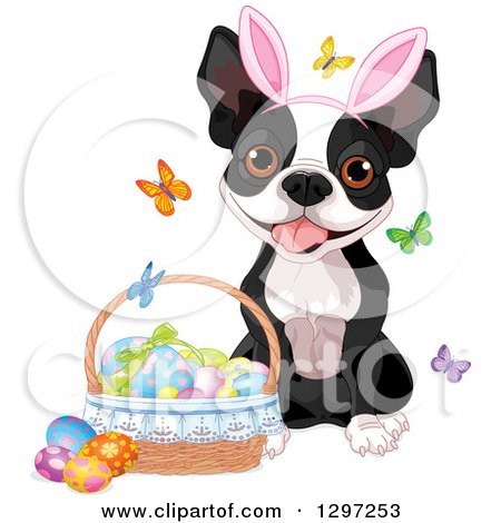 Cute Animal Clipart of an Adorable Boston Terrier Dog Wearing Bunny Ears and Sitting by a Basket of Easter Eggs and Butterflies - Royalty Free Vector Illustration by Pushkin