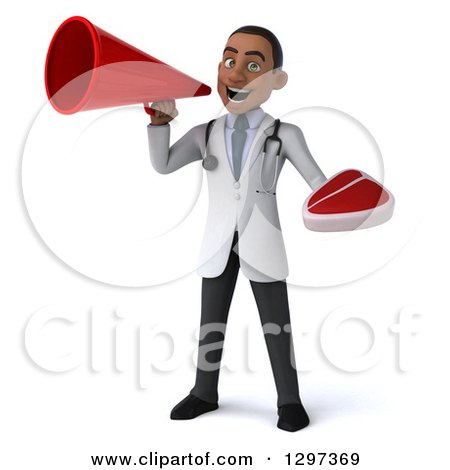 Clipart of a 3d Young Black Male Doctor Holding a Beef Steak and Announcing with a Megaphone - Royalty Free Illustration by Julos