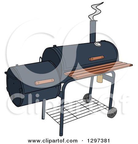 Clipart of a BBQ Offset Smoker - Royalty Free Vector Illustration by LaffToon