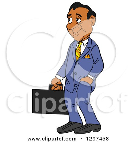 Clipart of a Cartoon Frumpy Black Businessman Facing Left and Holding a Briefcase, One Hand in a Pocket - Royalty Free Vector Illustration by LaffToon