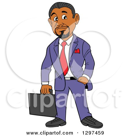 Clipart of a Cartoon Black Businessman with a Goatee, Holding a Briefcase, One Hand in a Pocket - Royalty Free Vector Illustration by LaffToon