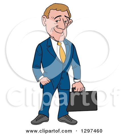 Clipart of a Cartoon White Debonnaire Businessman Holding a Briefcase, One Hand in a Pocket - Royalty Free Vector Illustration by LaffToon