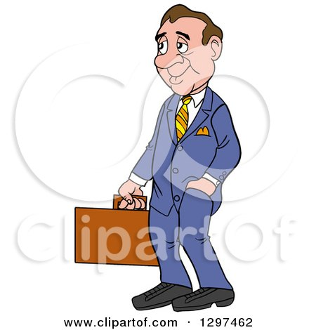 Clipart of a Cartoon Frumpy White Businessman Facing Left and Holding a Briefcase, One Hand in a Pocket - Royalty Free Vector Illustration by LaffToon