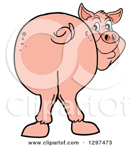 Clipart of a Cartoon Pig Butt, with Him Smiling Back - Royalty Free Vector Illustration by LaffToon