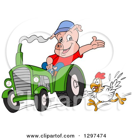 Cartoon Pig Farmer Waving and Driving a Tractor, with a Chicken Running Posters, Art Prints