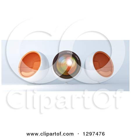 Clipart of a 3d Camera Lens and Cocoon Chairs - Royalty Free Illustration by Frank Boston