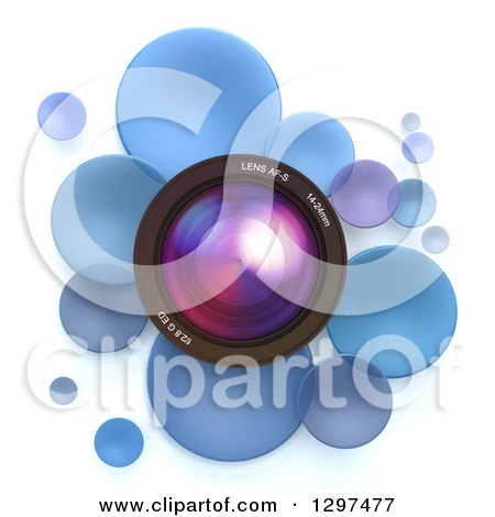 Clipart of a 3d Camera Lens in a Circle of Blue Bubbles or Disks, on White - Royalty Free Illustration by Frank Boston