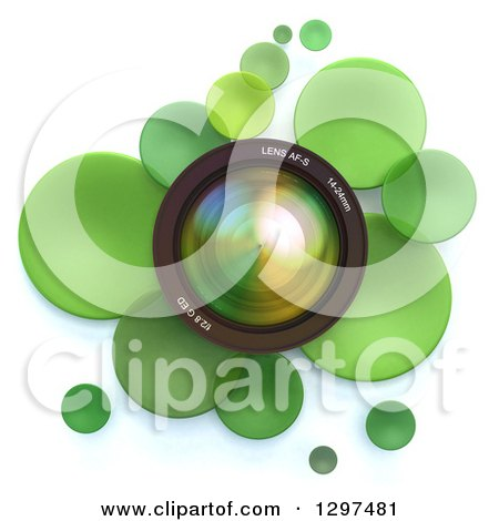 Clipart of a 3d Camera Lens in a Circle of Green Bubbles or Disks, on White - Royalty Free Illustration by Frank Boston