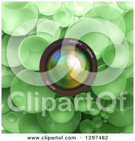 Clipart of a 3d Camera Lens over Green Bubbles or Disks - Royalty Free Illustration by Frank Boston