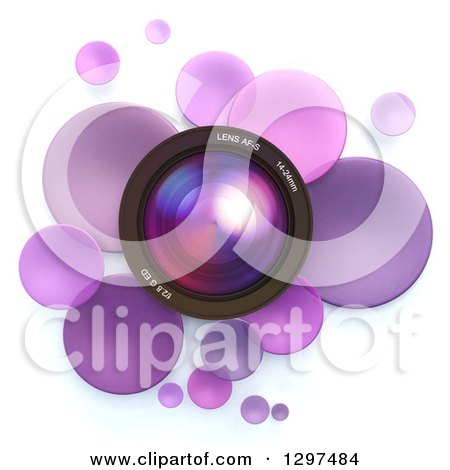 Clipart of a 3d Camera Lens in a Circle of Purple Bubbles or Disks, on White 2 - Royalty Free Illustration by Frank Boston