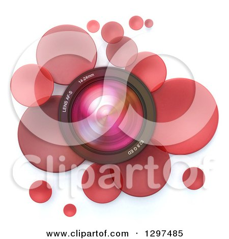 Clipart of a 3d Camera Lens in a Circle of Red Bubbles or Disks, on White - Royalty Free Illustration by Frank Boston