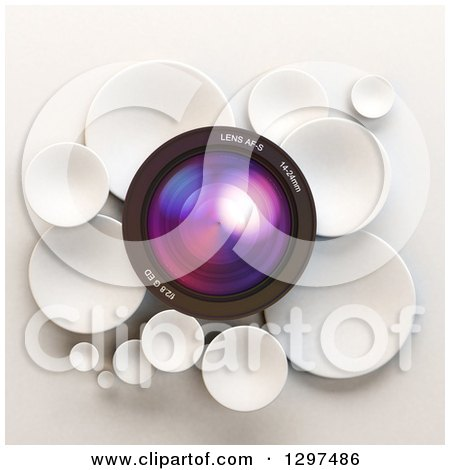 Clipart of a 3d Camera Lens in a Circle of White Bubbles or Disks, on Shading - Royalty Free Illustration by Frank Boston