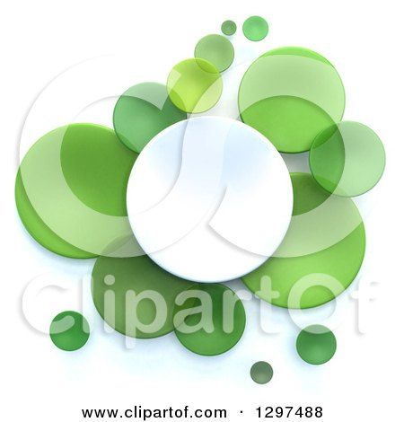 Clipart of 3d White and Green Circular Disks on White - Royalty Free Illustration by Frank Boston