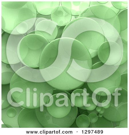 Clipart of a Background of 3d Transparent Green Circular Disks - Royalty Free Illustration by Frank Boston