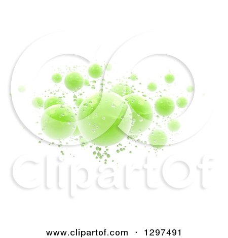 3d Floating Shiny Green Spheres and Bubbles on White Posters, Art Prints