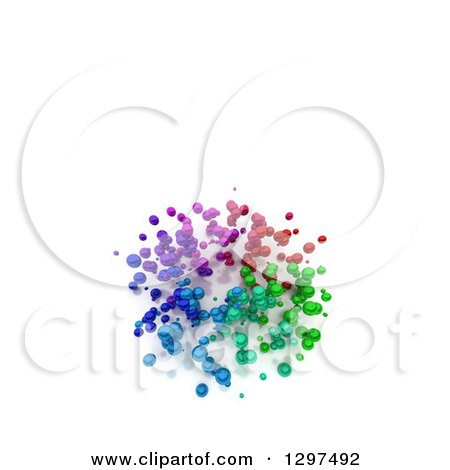 Clipart of a 3d Cluster of Floating Colorful Spheres, with Text Space on White - Royalty Free Illustration by Frank Boston