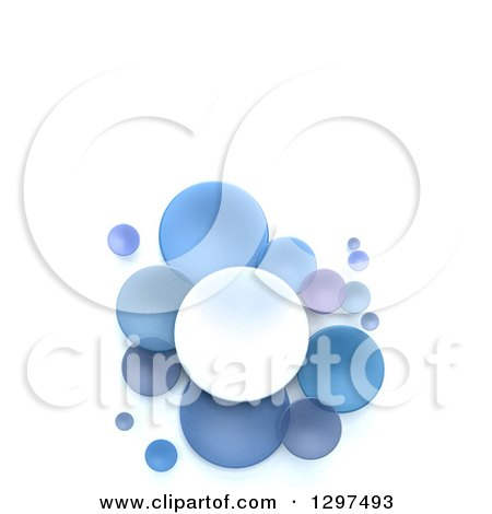 Clipart of 3d White and Blue Circular Disks on White, with Text Space - Royalty Free Illustration by Frank Boston