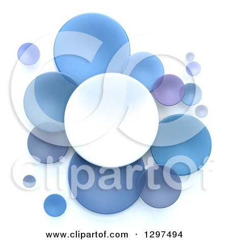 Clipart of 3d White and Blue Circular Disks on White - Royalty Free Illustration by Frank Boston
