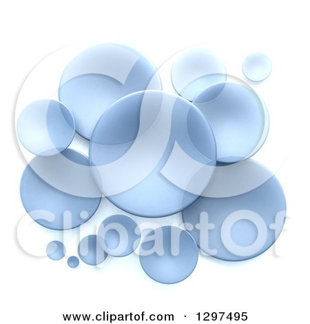 Clipart of 3d Transparent Blue Circular Disks on White - Royalty Free Illustration by Frank Boston