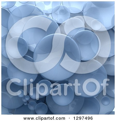 Clipart of a Background of 3d Transparent Blue Circular Disks - Royalty Free Illustration by Frank Boston