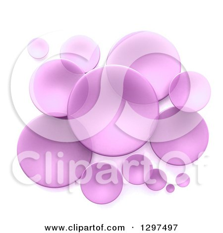 Clipart of 3d Transparent Purple Circular Disks on White - Royalty Free Illustration by Frank Boston