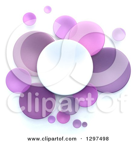 Clipart of 3d White and Purple Circular Disks on White - Royalty Free Illustration by Frank Boston