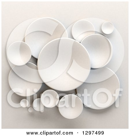 Clipart of 3d White Circular Disks on Shading - Royalty Free Illustration by Frank Boston
