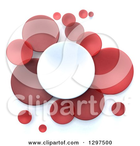 Clipart of 3d White and Red Circular Disks on White - Royalty Free Illustration by Frank Boston