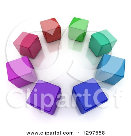 Clipart of a 3d Circle of Colorful Cubes on a Reflective White Background - Royalty Free Illustration by Frank Boston