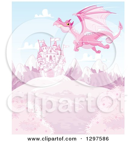 Clipart of a Pink Dragon Flying over a Fairy Tale Castle on a Hill with Snow Capped Mountains - Royalty Free Vector Illustration by Pushkin