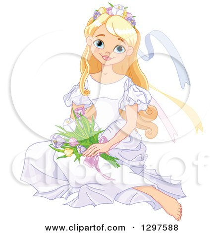 Clipart of a Pretty Blond Spring Time Princess Sitting on the Floor with Flowers - Royalty Free Vector Illustration by Pushkin