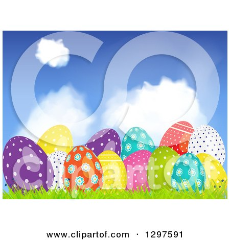 Clipart of a 3d Colorful Shiny Patterned Easter Eggs in Grass Under a Blue Sky with Clouds - Royalty Free Vector Illustration by elaineitalia
